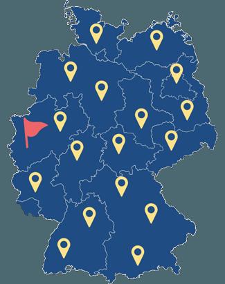 Karte der Bunderepublik Deutschland mit den Kunden der SDG Kunststoffe GmbH & Co. KG.